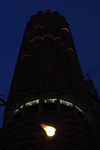 marina tower at night